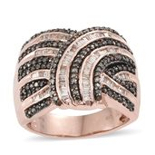 Natural Champagne Diamond Black Rhodium & Vermeil RG Over Sterling Silver Ring (Size 8.0) TDiaWt 1.01 cts, TGW 1.01 cts.