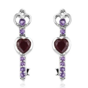 GP Niassa Ruby, Multi Gemstone Platinum Over Sterling Silver Earrings TGW 3.08 cts.