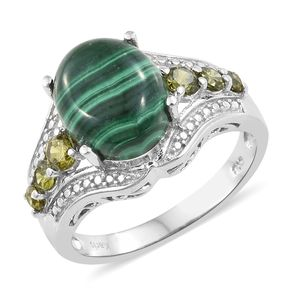 KARIS Collection - African Malachite, Simulated Green Dimaond Platinum Bond Brass Ring (Size 7.0) TGW 8.58 cts.