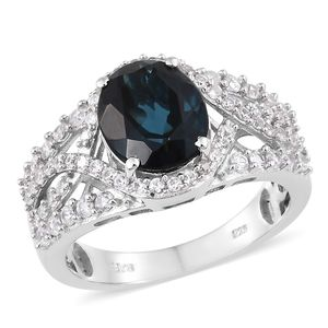 Dan's Collector Deal London Blue Topaz, Cambodian Zircon Platinum Over Sterling Silver Ring (Size 9.0) TGW 5.72 cts.