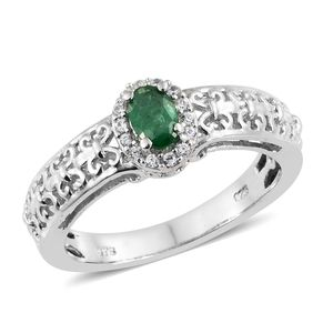 Brazilian Emerald, Cambodian Zircon Platinum Over Sterling Silver Ring (Size 7.0) TGW 0.61 cts.