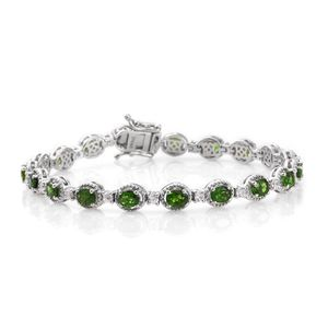 Russian Diopside, Cambodian Zircon Platinum Over Sterling Silver Bracelet (7.50 In) TGW 8.55 cts.