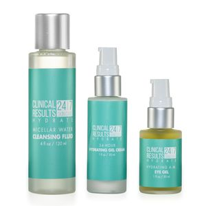 Clinical Results 24.7 Hydrate 3-Piece: Cleansing Fluid (4 fl oz), Hydating Gel Cream (1fl oz), and Hydrate Eye Gel (1 fl oz)