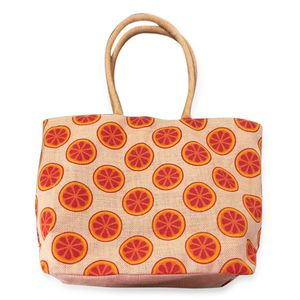 Budget Pay Bonanza Yellow 100% Natural Jute Orange Slice Printed Tote with Polyester Interior (18.5x5x13 in)