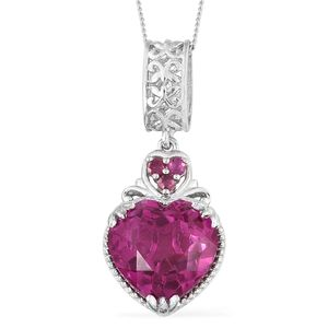 Radiant Orchid Quartz, Niassa Ruby Platinum Over Sterling Silver Heart Pendant With Chain (20 in) TGW 5.90 cts.