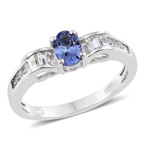 Tanzanite, White Topaz Platinum Over Sterling Silver Princess Ring (Size 8.0) TGW 1.64 cts.