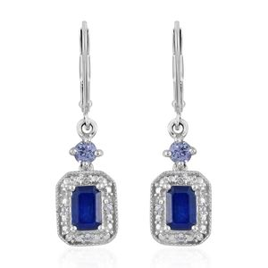 Blue Spinel, Multi Gemstone Platinum Over Sterling Silver Earrings TGW 1.56 cts.