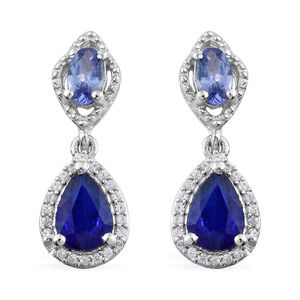 Blue Spinel, Multi Gemstone Platinum Over Sterling Silver Drop Earrings TGW 2.60 cts.