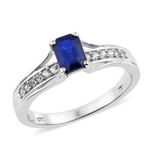 Blue Spinel, Cambodian Zircon Platinum Over Sterling Silver Bridge Ring (Size 7.0) TGW 1.21 cts.