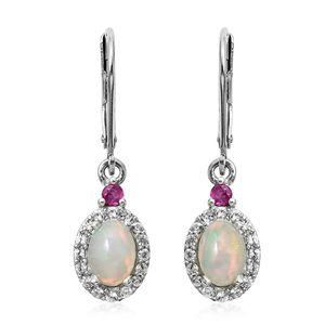 Ethiopian Welo Opal, Multi Gemstone Platinum Over Sterling Silver Lever Back Earrings TGW 1.48 cts.