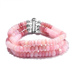 TLV Peruvian Pink Opal Enhanced Beads Platinum Over Sterling Silver Bracelet (7.50 In) TGW 102.44 cts.
