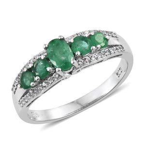 Brazilian Emerald, Cambodian Zircon Platinum Over Sterling Silver Ring (Size 6.0) TGW 1.29 cts.