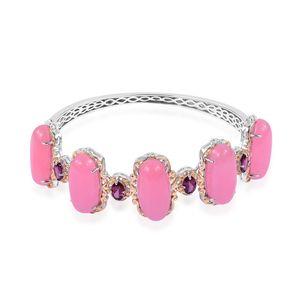 Burmese Pink Jade, Orissa Rhodolite Garnet 14K YG Over and Sterling Silver Bangle (7.25 in) TGW 57.90 cts.