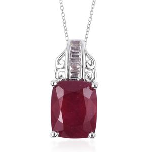 Niassa Ruby, White Topaz Platinum Over Sterling Silver Pendant With Chain (18 in) TGW 4.85 cts.