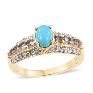 Arizona Sleeping Beauty Turquoise, Multi Gemstone Vermeil YG Over Sterling Silver Ring (Size 5.0) TGW 1.73 cts.