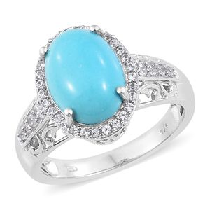 Arizona Sleeping Beauty Turquoise, Cambodian Zircon Platinum Over Sterling Silver Ring (Size 10.0) TGW 6.09 cts.