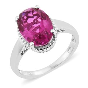 Radiant Orchid Quartz Platinum Over Sterling Silver Solitaire Ring (Size 7.0) TGW 6.20 cts.