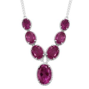 Radiant Orchid Quartz Platinum Over Sterling Silver Necklace (18 in) TGW 18.53 cts.