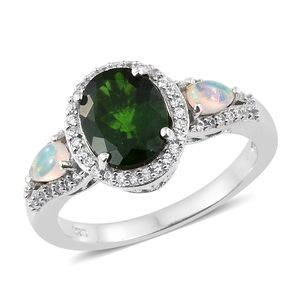 Russian Diopside, Multi Gemstone Platinum Over Sterling Silver Ring (Size 5.0) TGW 3.46 cts.