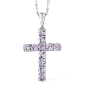 KARIS Collection - Rose De France Amethyst Platinum Bond Brass Cross Pendant With Stainless Steel Chain (20 in) TGW 2.65 cts.