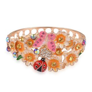 Multi Color Austrian Crystal, Yellow Enameled Goldtone Bangle (7 in)