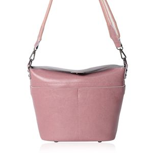 Mauve Genuine Leather Crossbody Bag with Removeable Shoulder Strap (10x4x10 in)