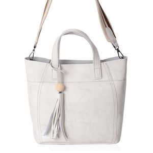 Off White Genuine Leather Wooden Tassel Tote Bag with Standing Studs and Removable Fabric Shoulder Strap (11x4.5x10 in)