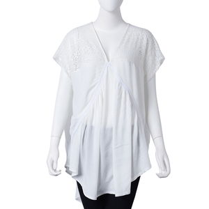 White 70% Viscose and 30% Cotton Lace V-Neck Pleated Curved Hem Blouse (One Size)