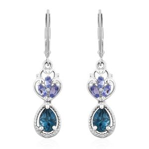 London Blue Topaz, Tanzanite Platinum Over Sterling Silver Lever Back Earrings TGW 2.26 cts.