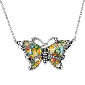 Murano Millefiori Glass, White Austrian Crystal Black Oxidized Stainless Steel Butterfly Necklace (20 in) TGW 20.20 cts.