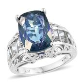 Mystic Neptune Topaz, Multi Gemstone Platinum Over Sterling Silver Ring (Size 6.0) TGW 11.15 cts.