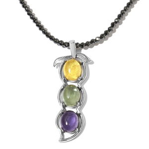 Hematite, Multi Color Glass Stainless Steel Pendant With Necklace (18 in) TGW 69.25 cts.