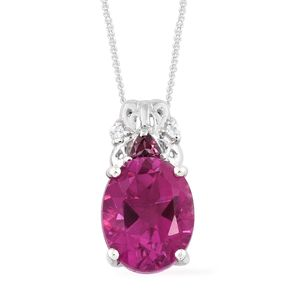 Radiant Orchid Quartz, Multi Gemstone Platinum Over Sterling Silver Pendant With Chain (20 in) TGW 4.06 cts.