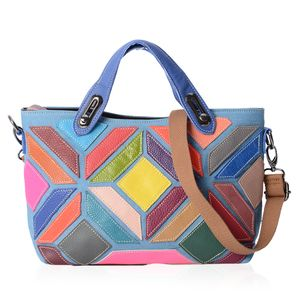 Chaos By Elsie Multi Color Genuine Leather Satchel Bag (14x3x7 in) with Removable Shoulder Strap (50 in)