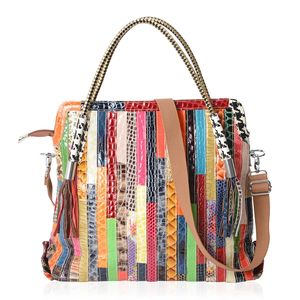 July 4th MEGA DOORBUSTER - Chaos By Elsie Multi Color Animal Print and Pattren Genuine Leather Handbag (18x5x15 in) with Removable Shoulder Strap (50 in)