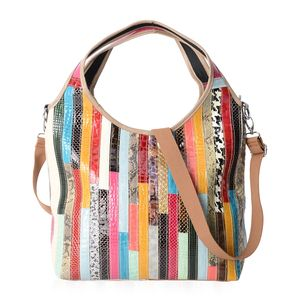 July 4th MEGA DOORBUSTER - Chaos By Elsie Multi Color Animal Print and Pattern Genuine Leather Hobo Bag (17x6x11 in) with Removable Shoulder Strap (50 in)