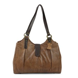 Camel Genuine Leather RFID Crocodile Embossed Shoulder Bag (16x3.75x12.5 in)