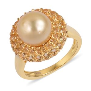 South Sea Golden Pearl (10-10.5 mm), Brazilian Citrine 14K YG Over Sterling Silver Ring (Size 7.0) TGW 1.15 cts.