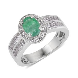 Brazilian Emerald, White Topaz Sterling Silver Ring (Size 7.0) Total Gem Stone Weight 1.40 Carat