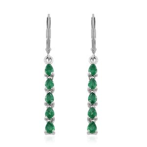 Brazilian Emerald Platinum Over Sterling Silver Lever Back Earrings TGW 1.60 cts.