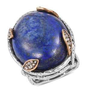 Lapis Lazuli, White Austrian Crystal Black Oxidized ION Plated YG and Stainless Steel Ring (Size 7.0) TGW 10.50 cts.