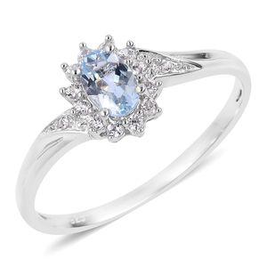 Espirito Santo Aquamarine, Natural White Zircon Sterling Silver Ring (Size 7.0) TGW 0.66 cts.