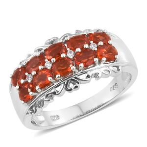 Crimson Fire Opal, Cambodian Zircon Platinum Over Sterling Silver Ring (Size 5.0) TGW 1.20 cts.