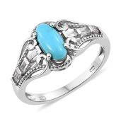 Arizona Sleeping Beauty Turquoise, White Topaz Platinum Over Sterling Silver Ring (Size 10.0) TGW 1.40 cts.