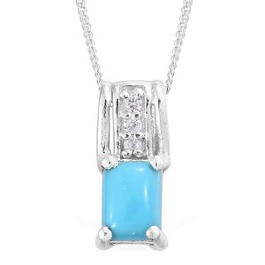 Memorial Day Doorbuster Arizona Sleeping Beauty Turquoise, Cambodian Zircon Platinum Over Sterling Silver Pendant With Chain (20 in) TGW 0.89 cts.