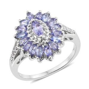 Tanzanite, Cambodian Zircon Platinum Over Sterling Silver Ring (Size 5.0) TGW 1.94 cts.
