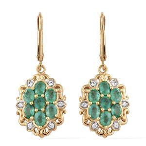 Brazilian Emerald, Cambodian Zircon Vermeil YG Over Sterling Silver Lever Back Earrings TGW 2.26 cts.