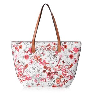 White with Red Flower Pattern Faux Leather Tote Bag (17x4x10 in)