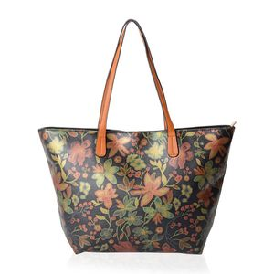 Black with Multi Color Flower Pattern Faux Leather Tote Bag (18.1x4x11.4 in)