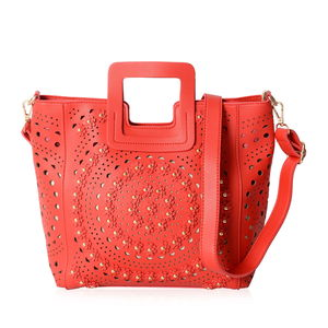 Red Faux Leather Laser Cut Flower Pattern Studded Handbag (13.5x4x10.5 in) with Removable Strap